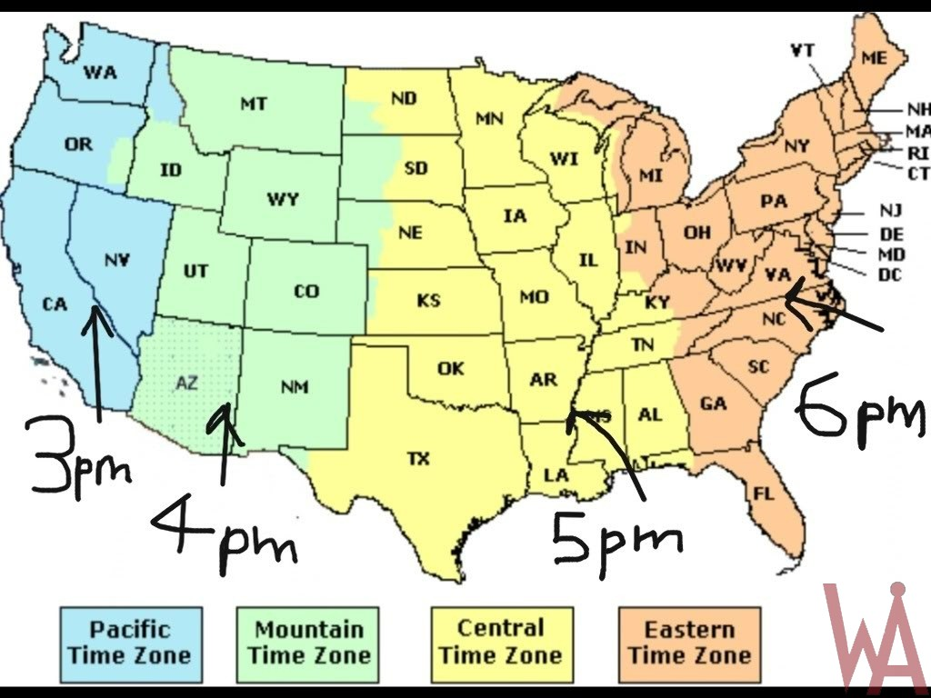 Time Zone Map of the USA with time different | WhatsAnswer