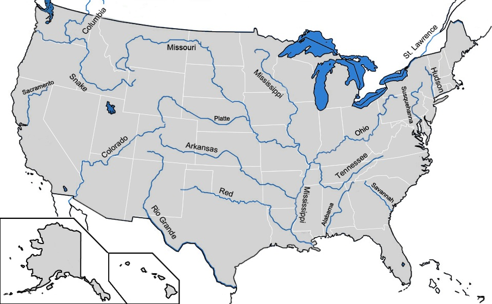 US Major Rivers Map WhatsAnswer - What are the major rivers