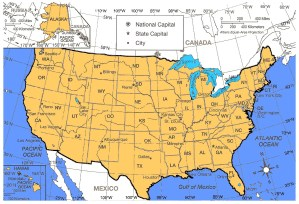 US detailed Political and Administrative Map