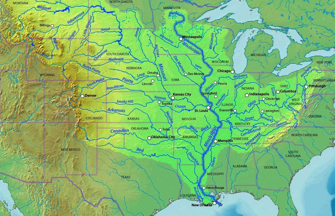 US Mississippi River Map