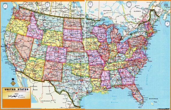 United State large administrative divisions map