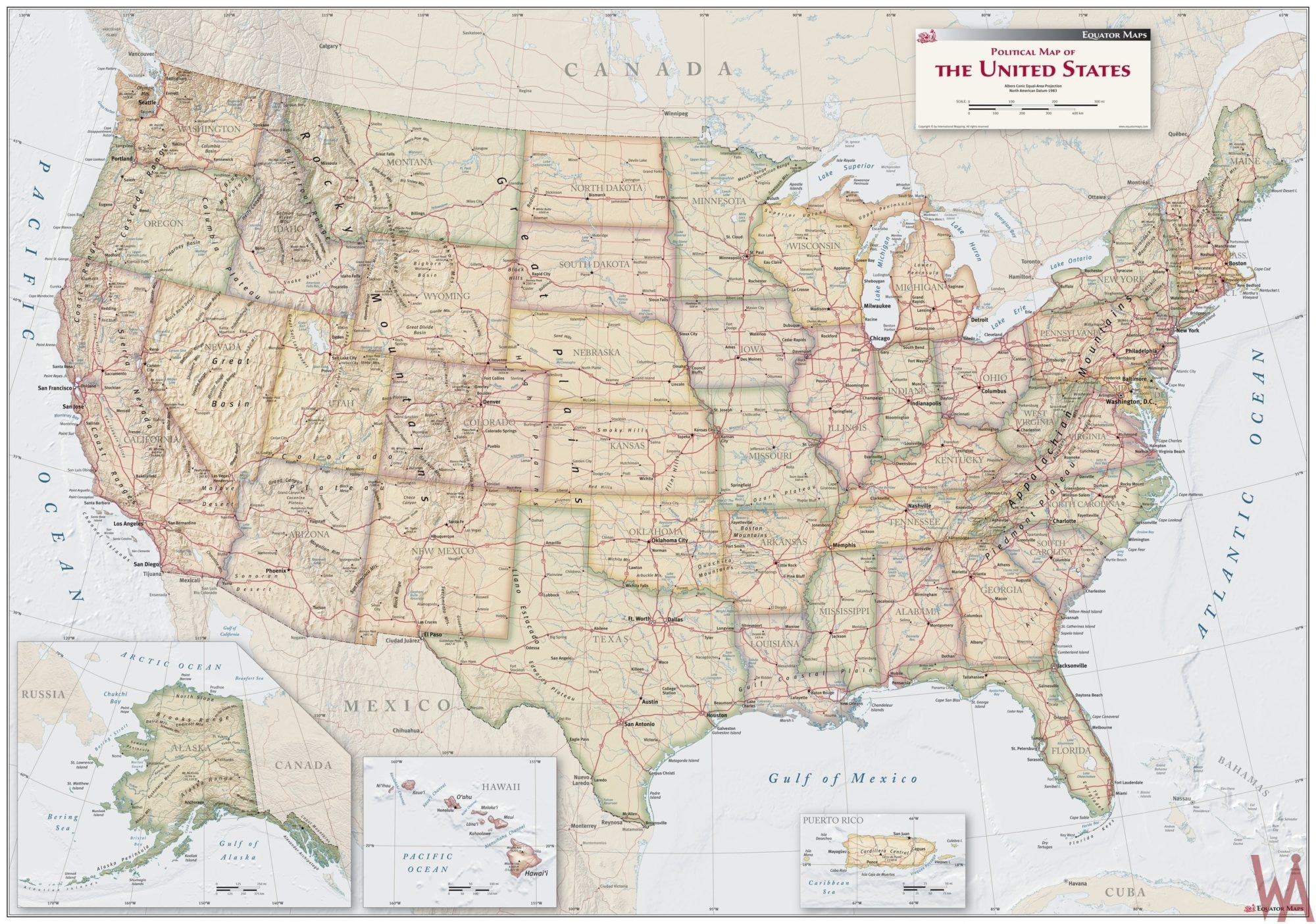 antique style political wall map of the USA