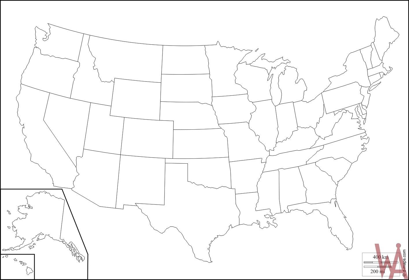 Usa Outline Map Printable