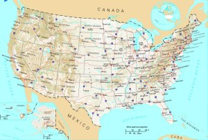 US Large Administrative and Topographical Map