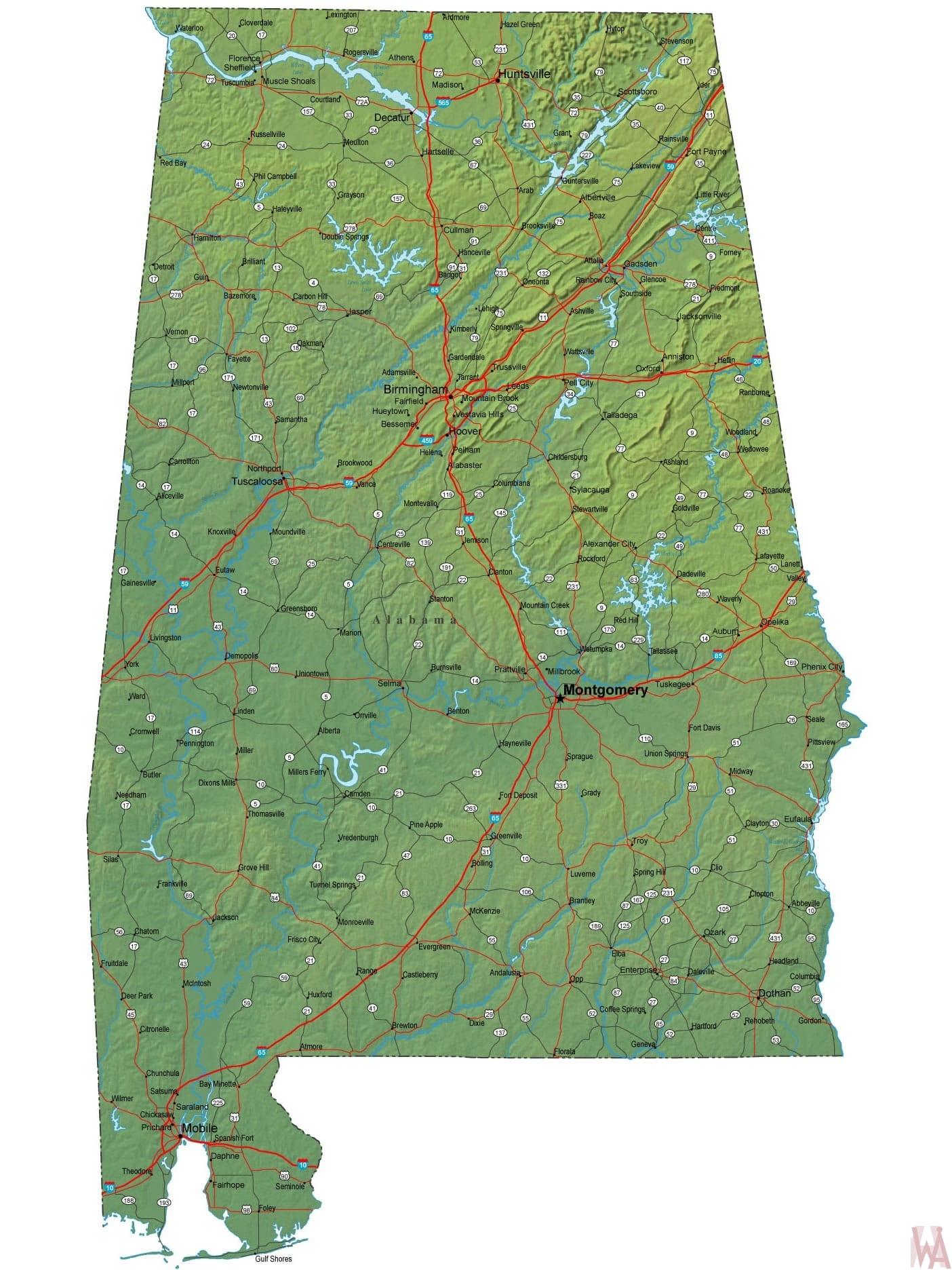 Alabama High Resolution  Physical  Map  | High Resolution Physical  Map of Alabama