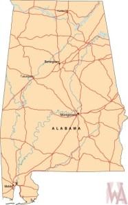 Alabama Labeled  Map    Labeled  Map of Alabama