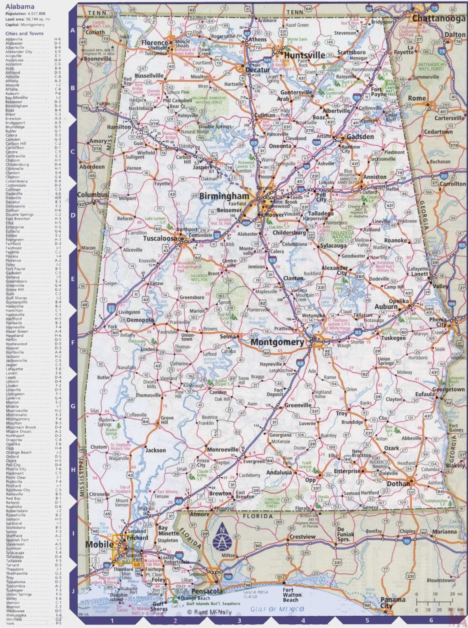 Alabama Maps With States And Cities