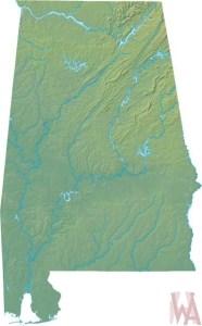 Alabama Physical  Map    Physical  Map of Alabama