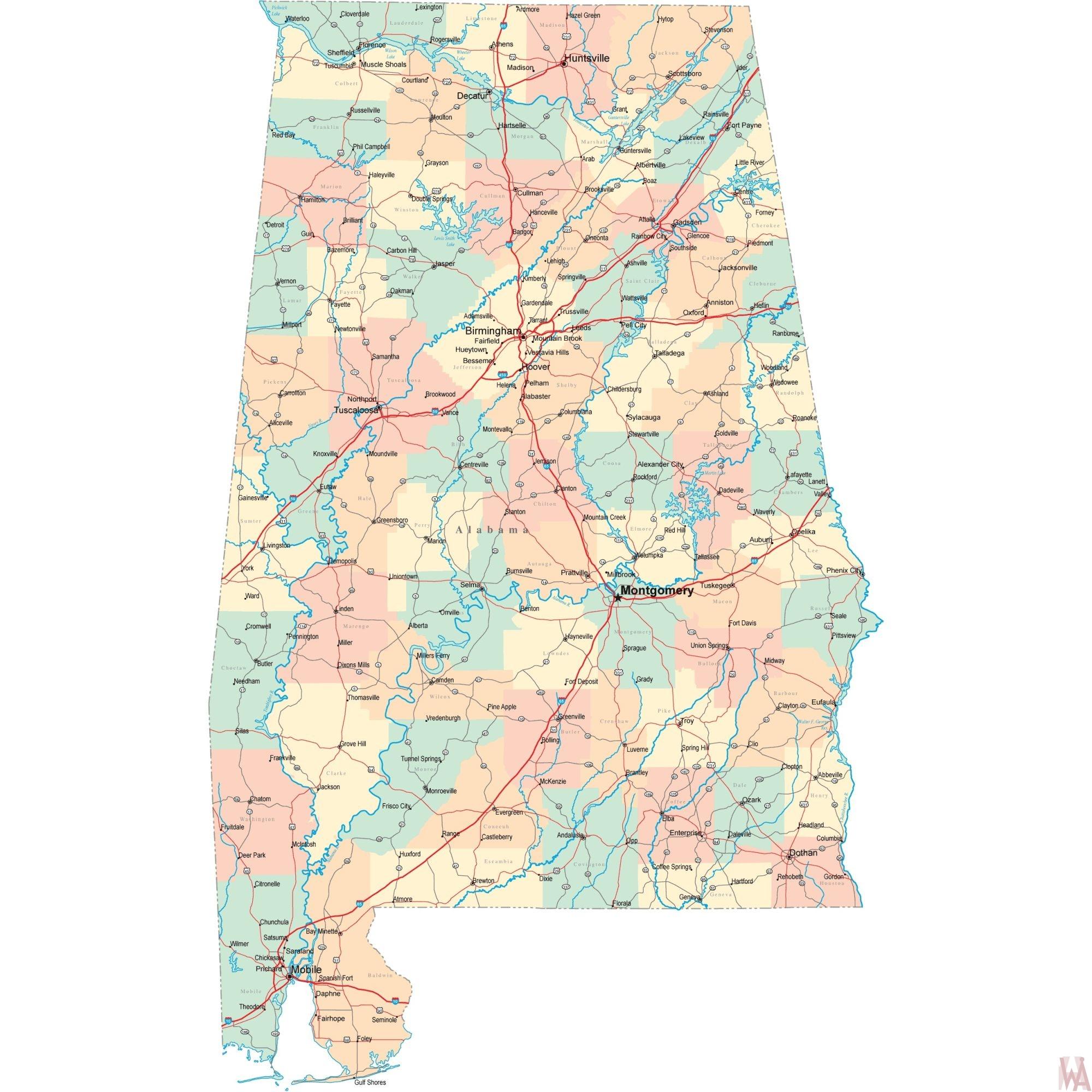 Alabama Road  Map | Road  Map of Alabama