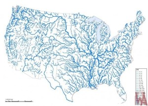 The River Map Of the United States With illustrated River Basin ...