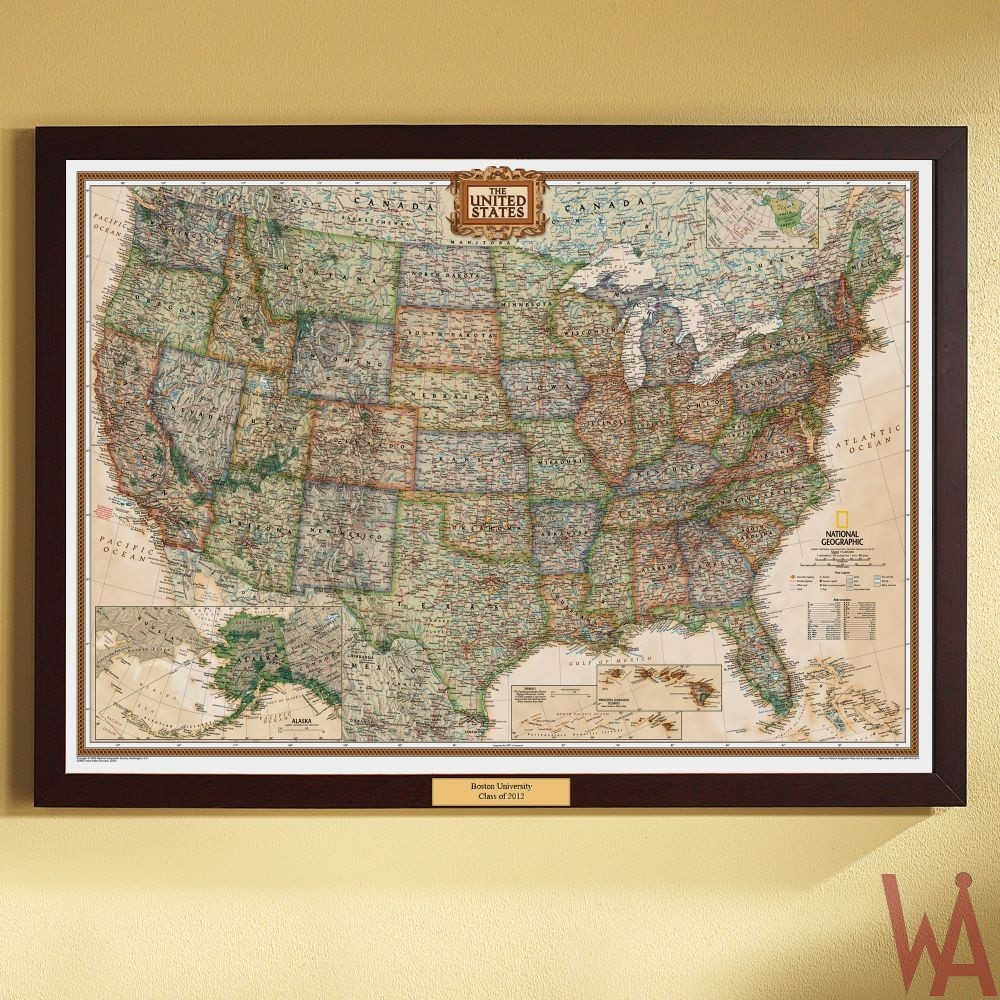 Antique historical map of US