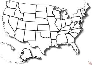 Blank Outline  Map 2 of the USA