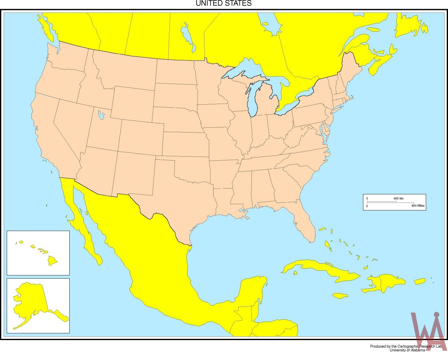 Blank Outline  Map  of the USA With Mexico