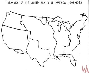 Blank Outline Map of the USA. Expansion 1607-1853 | WhatsAnswer