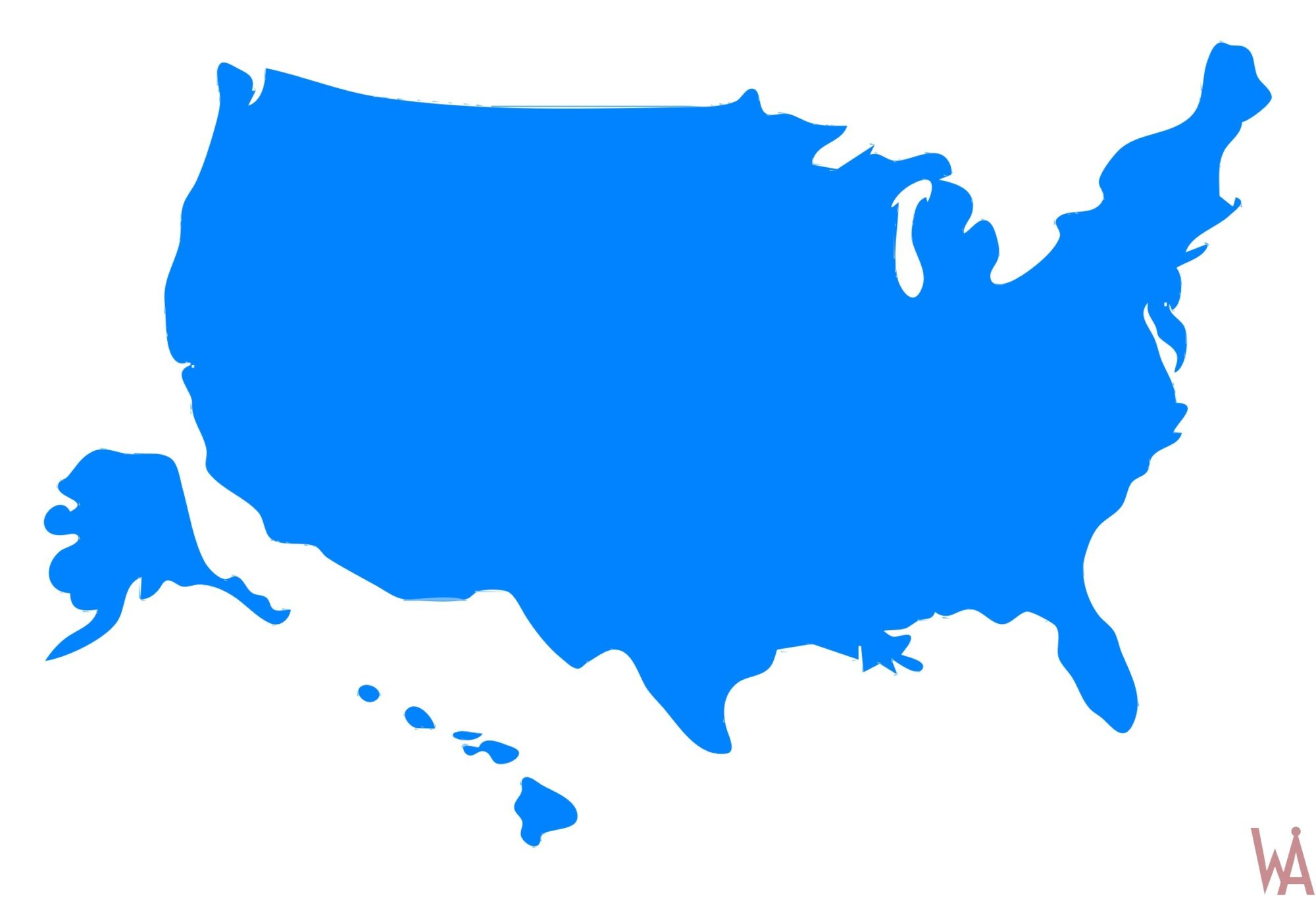 Blank Outline  color 1 Map of the USA