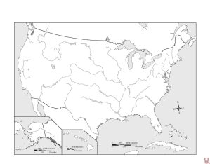 Blank outline map of the USA with major river