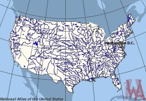 Blank outline map of the USA with major  rivers 4