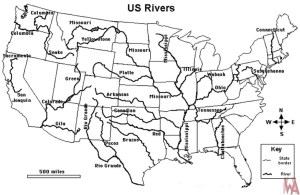 Blank Outline Map of the USA with Major Rivers