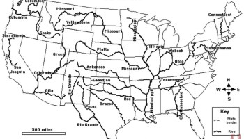 Blank outline map of the USA with major rivers and mountain ...