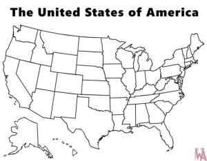 Blank outline map of the United States 12