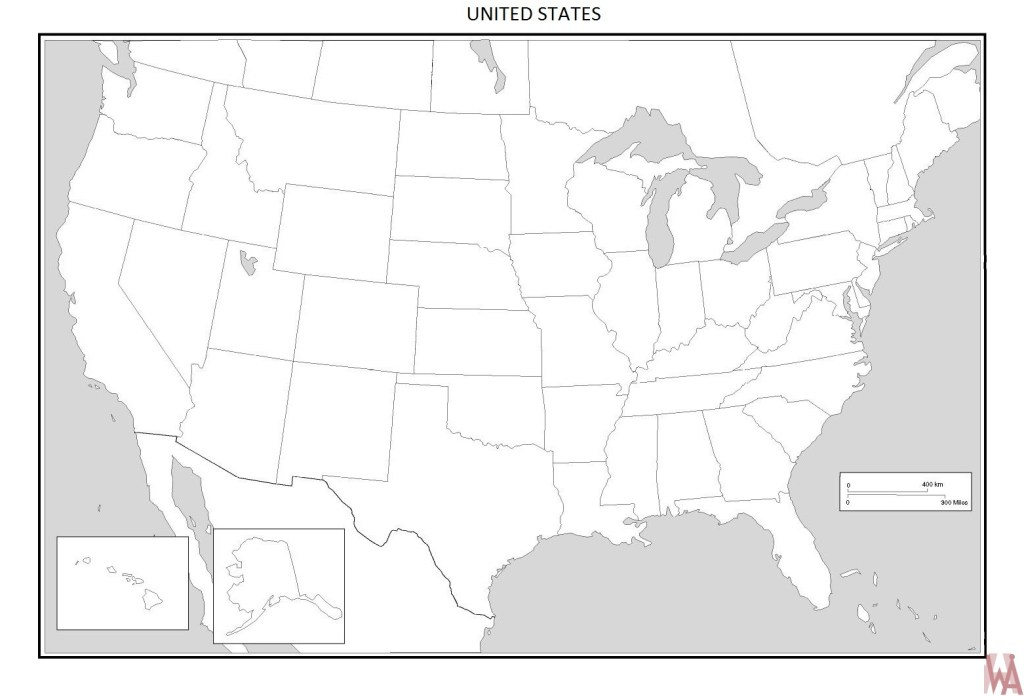 Blank outline map of the United States 13 | WhatsAnswer
