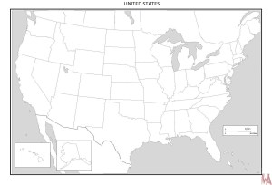 Blank outline map of the United States 13