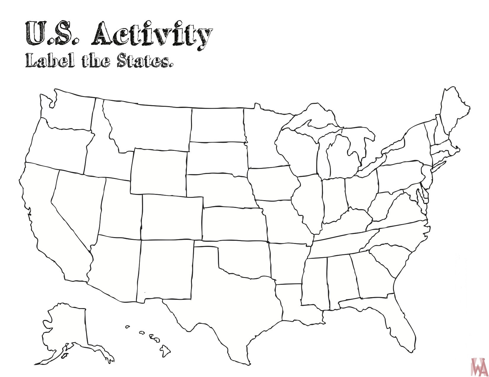 Blank outline map of the United States 17