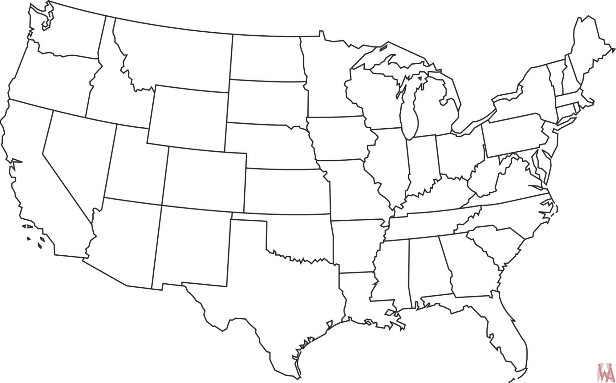 Blank outline map of the United States 19
