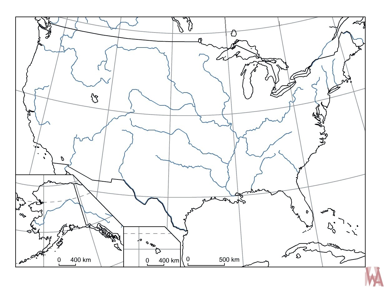 Blank outline map of the United States 26
