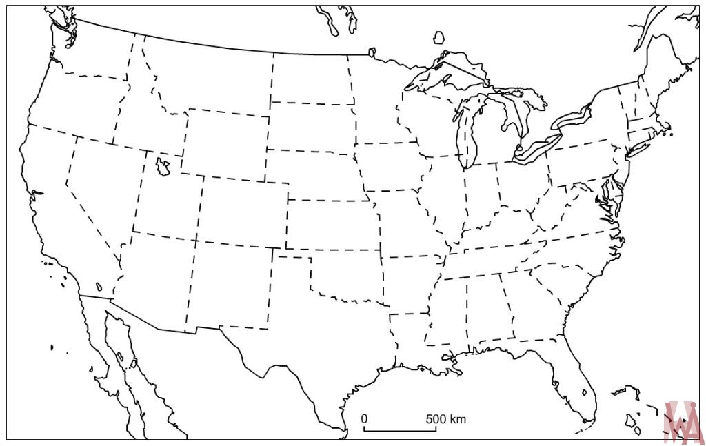 Blank outline map of the United States 9