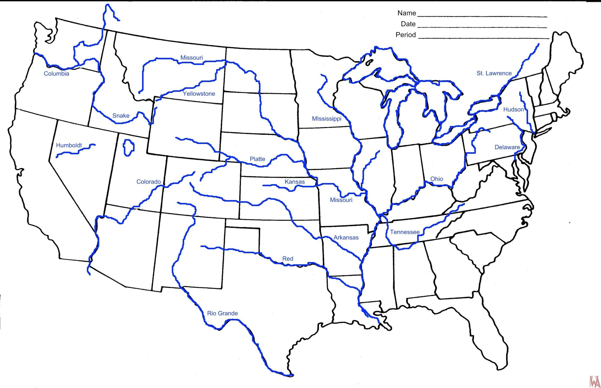 Blank Us Map With Rivers | Map feccnederland