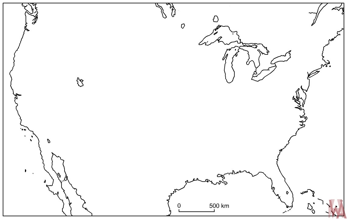 Blank outline map of the United States