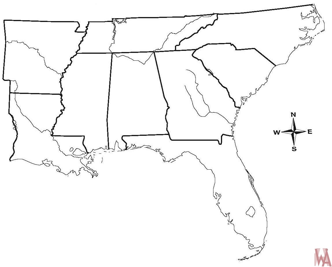 Blank outline map of the Us South Region