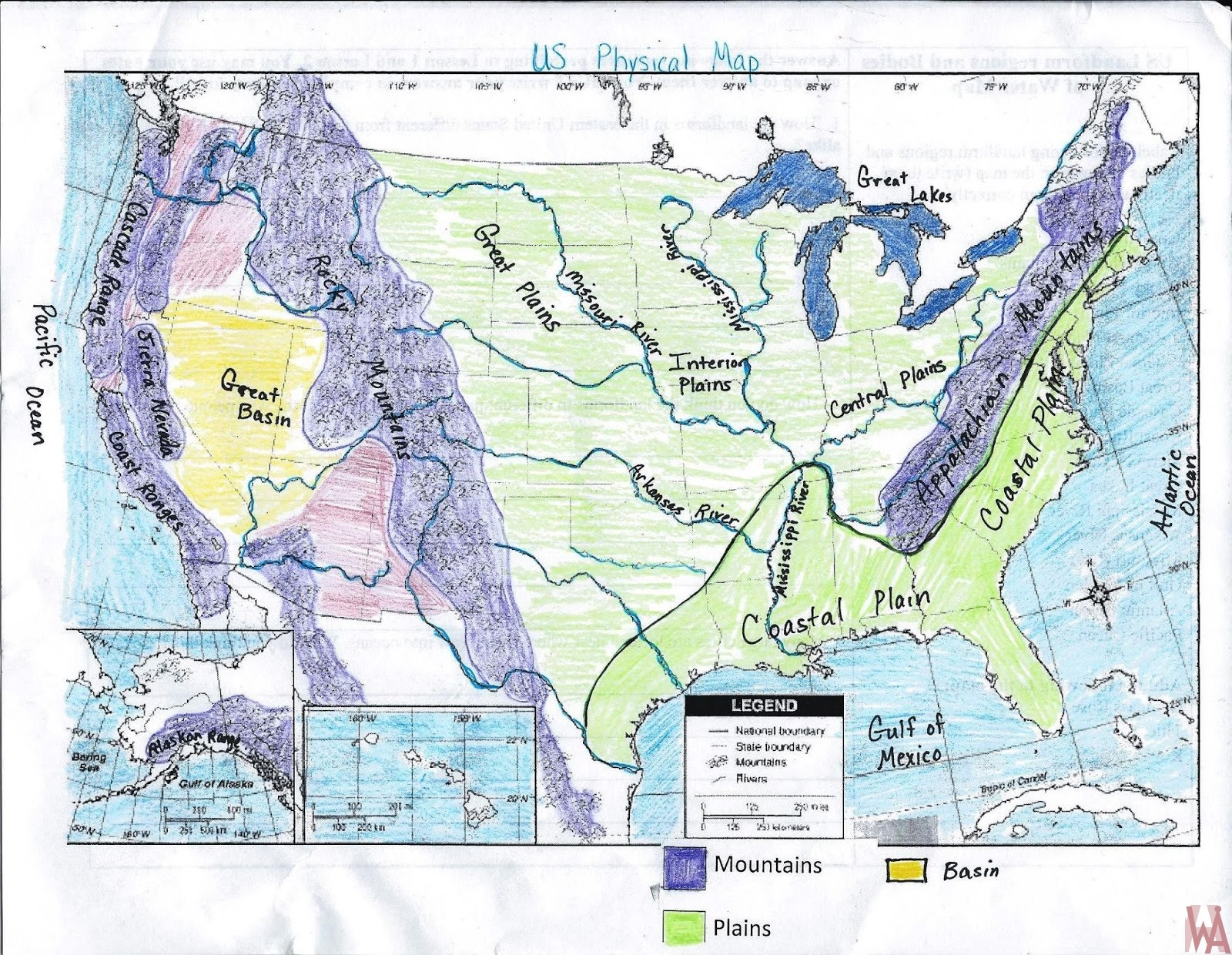 Full Hand Made United States Rivers Lakes Water Flows Mountain - Map-of-the-us-rivers-and-lakes