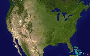 Geographical Satellite map of the USA