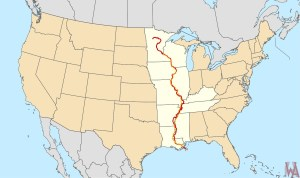 Great River Mississippi road map of the USA