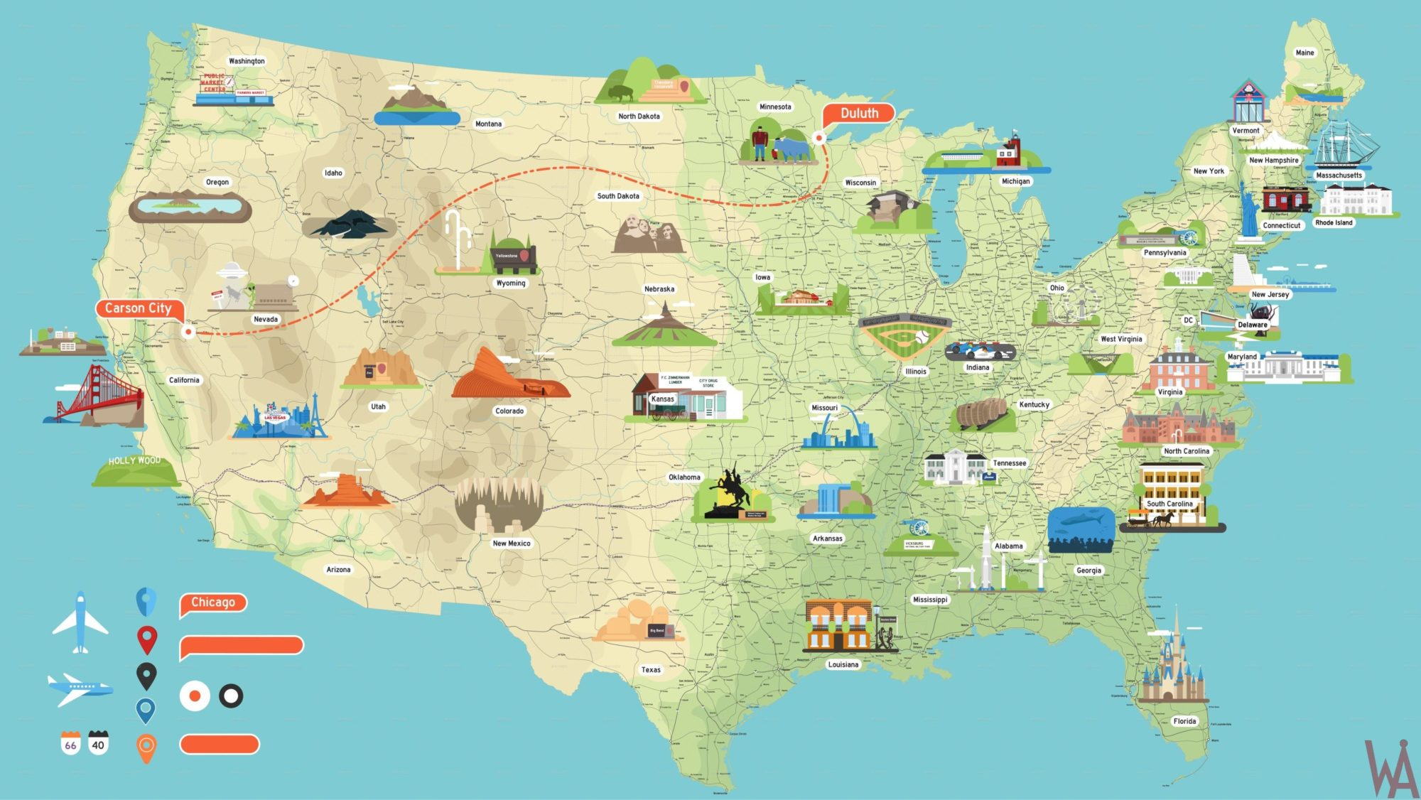 Tourist Attraction Map of the USA