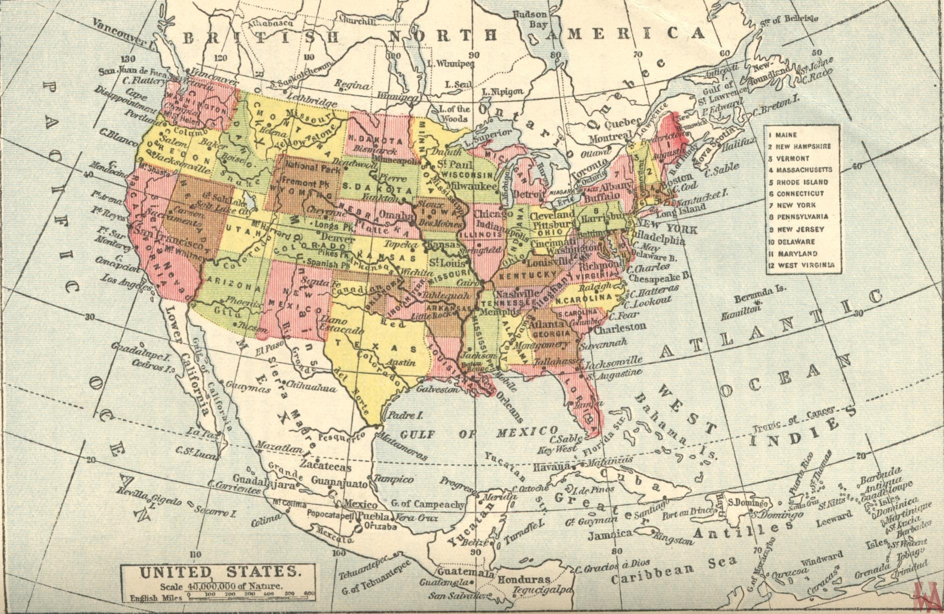 Historical map of the British United States