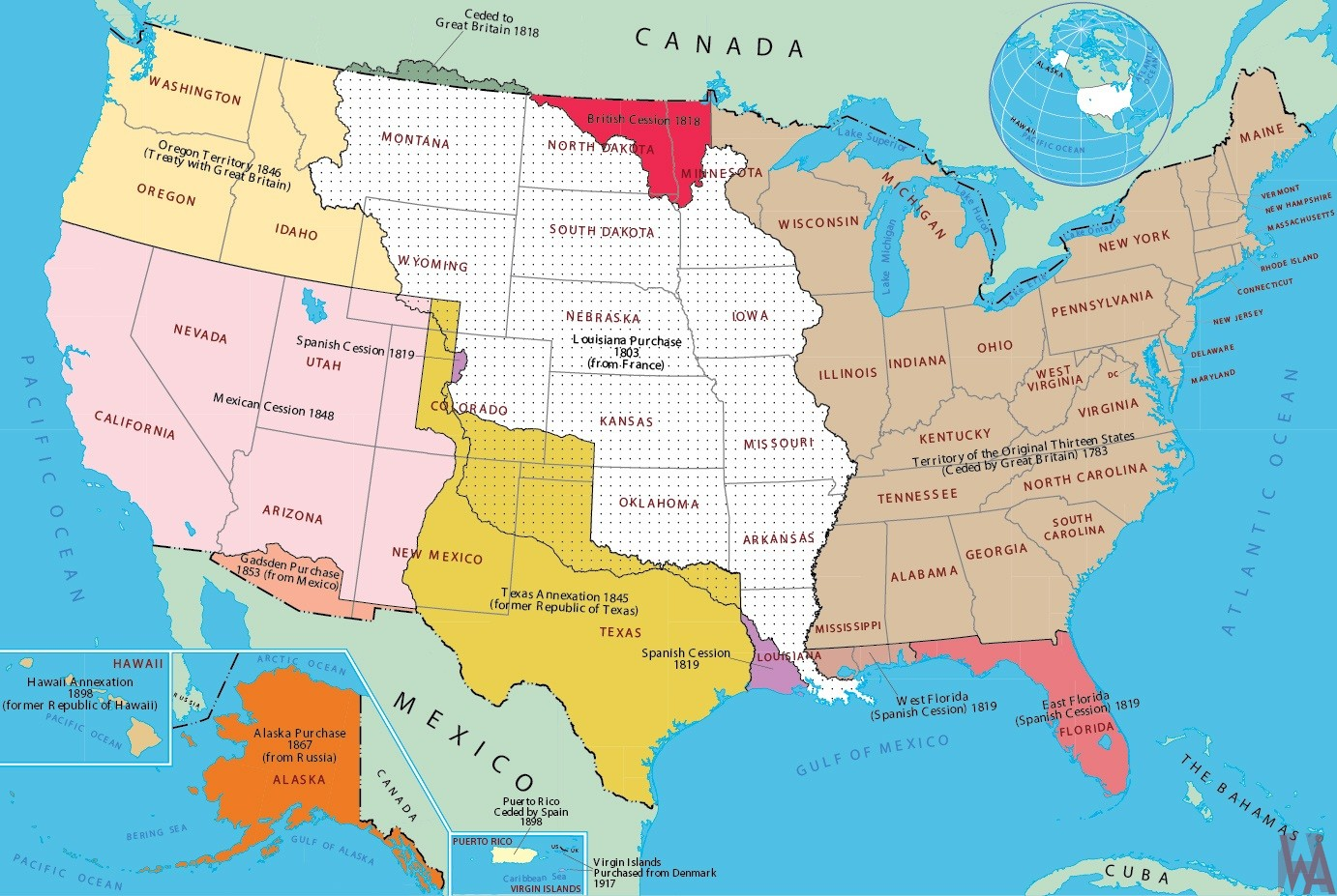 Historical map of the  United States, Britain  And others