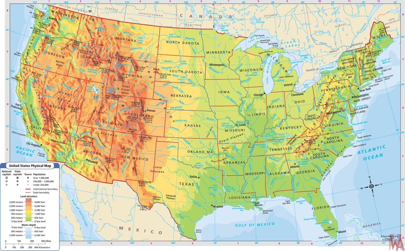 Large Political,physical, geographical map of USA 2 | WhatsAnswer