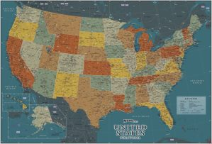 Large Political, physical, geographical map of USA – 4