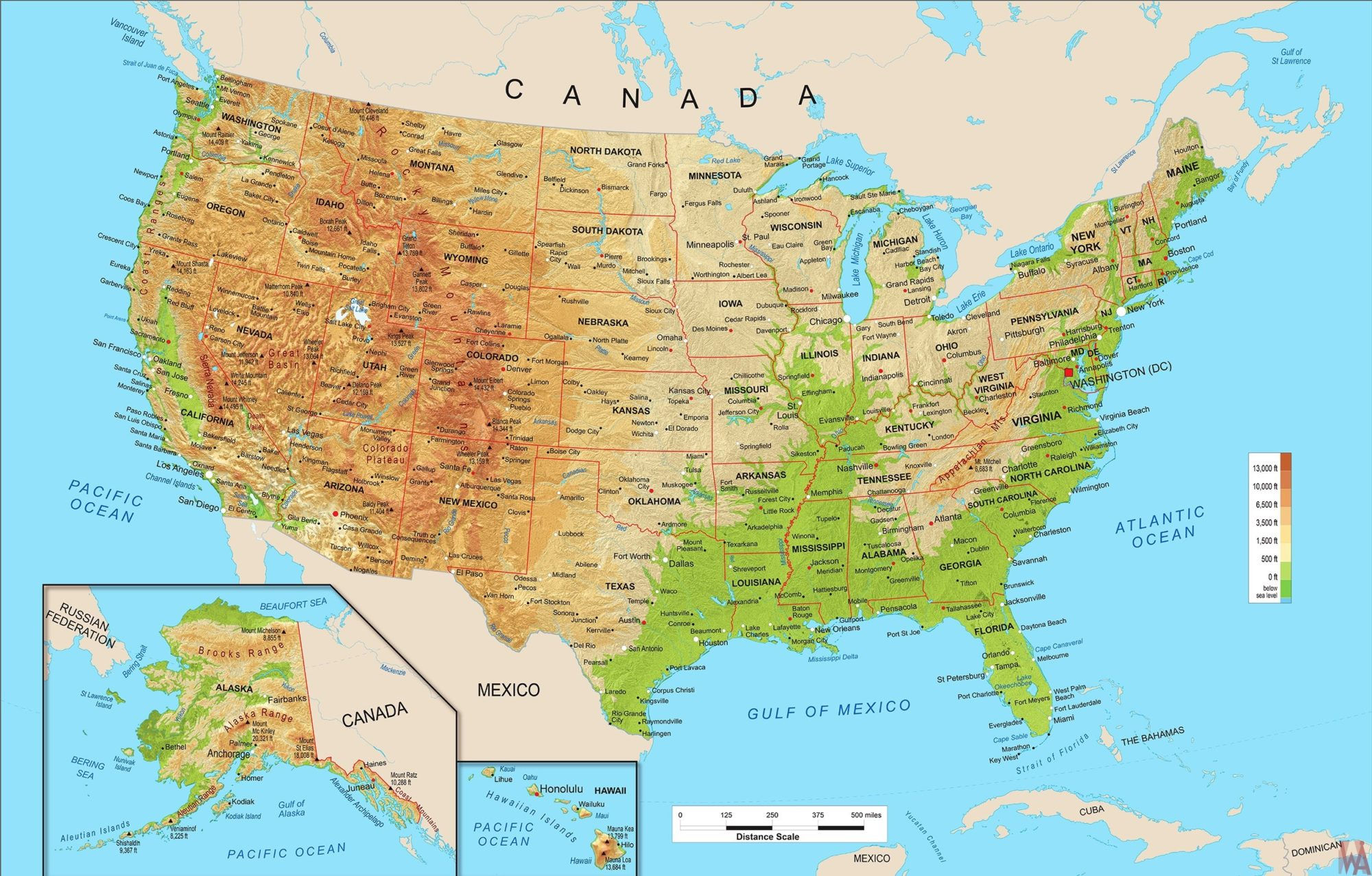 Geographical Map Of The United States Large Political, physical, geographical map of United States of