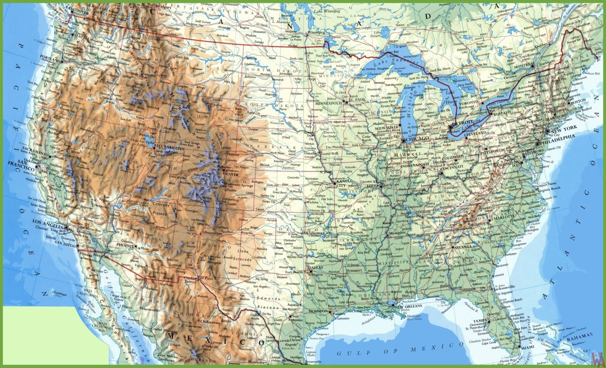 Large attractive Political,physical, geographical map of USA ...