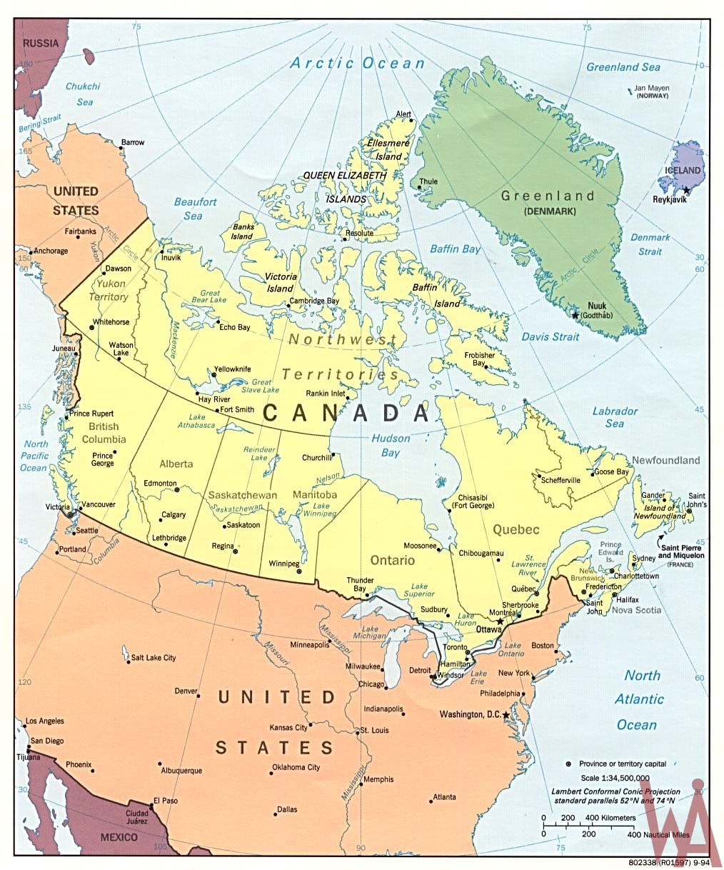 Large  attractive one color political map of the USA and Canada