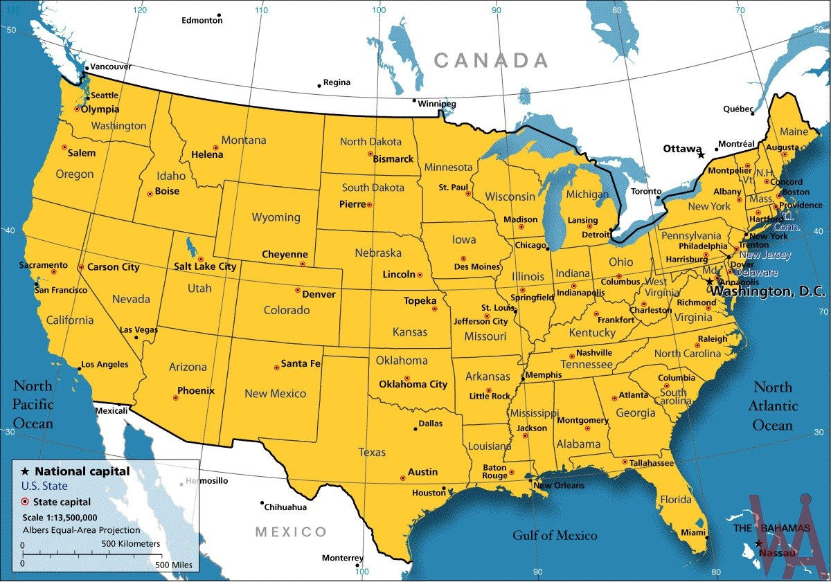 Large Attractive One Color Political Map Of The Usa With