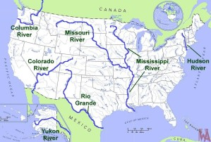 Major River Map of the USA