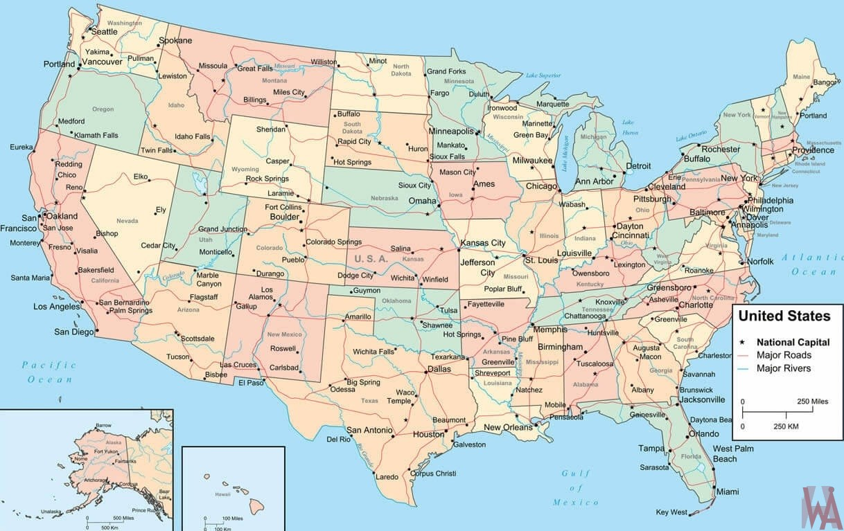 Picture of: Major Rivers And Roads Map Of The Us Whatsanswer