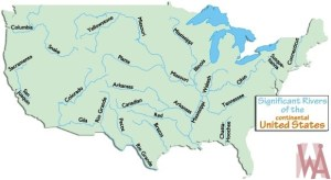Major Rivers and lake Map of the USA 5