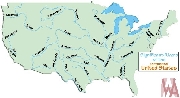 Major Rivers and lake Map of the USA 5 | WhatsAnswer