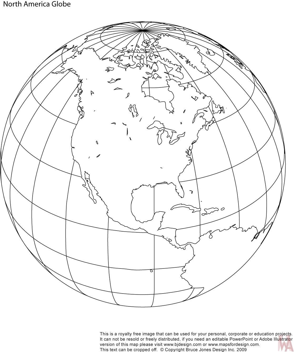 North America Blank Outline Globe Map